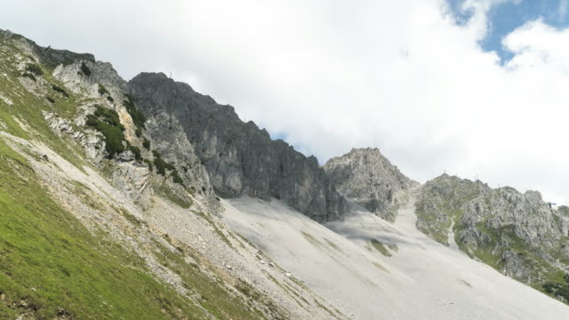 low angle tl: cloudscape view on a alps of austria in summer, hafelekarspitze-seegrube at karwendel mountain,innsbruck austria - north tirol stock videos & royalty-free footage