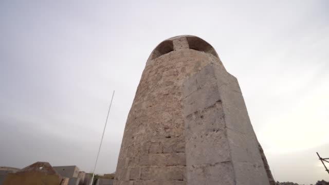 Low angle, tower in Ras al-Khaimah village
