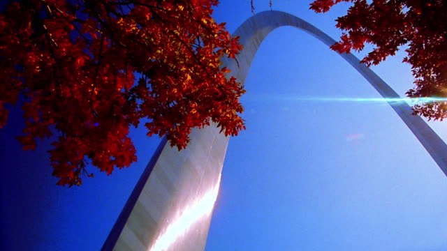 low angle PAN under Gateway Arch in St. Louis with sunburst / Missouri