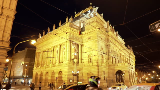 low angle view: night at national theater of prague - condition stock videos & royalty-free footage