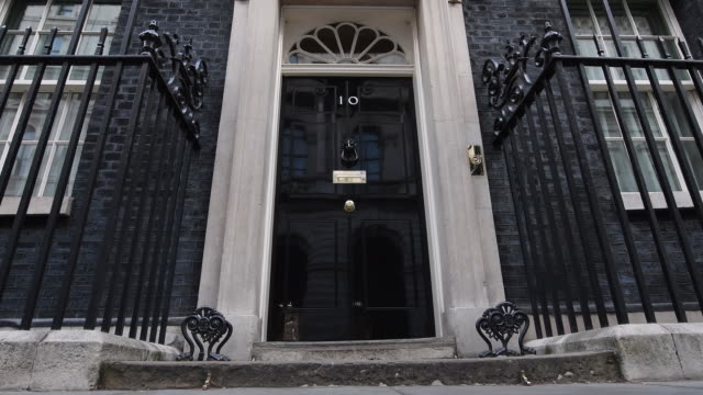 low angle view of 10 downing street on october 31 2016 in london england - downing street stock-videos und b-roll-filmmaterial