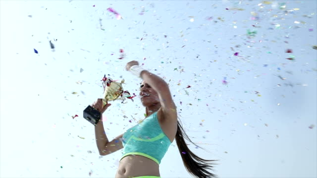 low angle view of a sportsperson celebrating success, delhi, india - award stock videos & royalty-free footage