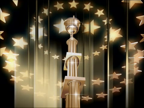 Low angle view of a trophy spinning