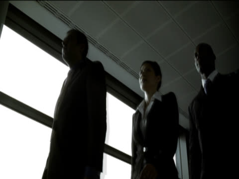 stockvideo's en b-roll-footage met low angle view of a well dressed businesswoman and two businessmen with serious expressions walking by a window - hawaiiaanse etniciteit