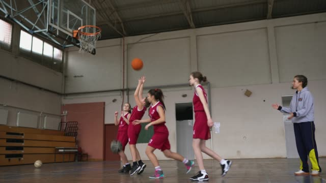 low angle view of basketball training class - girls stock videos & royalty-free footage