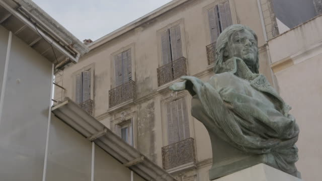 MS Low angle view of bust outside of building / Antibes, France