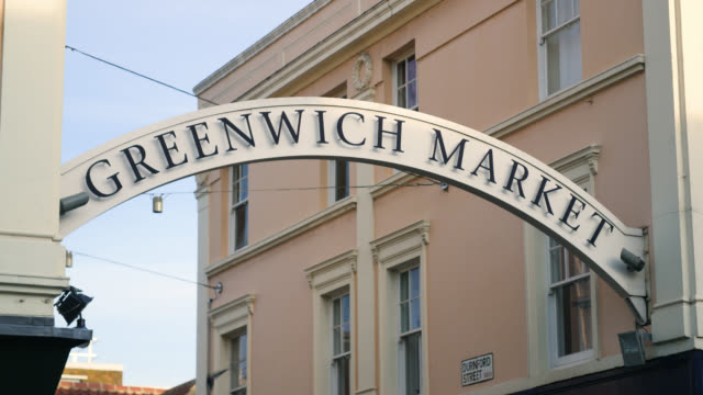 Low angle view of entrance to Greenwich Market in London