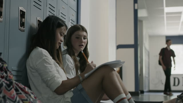 stockvideo's en b-roll-footage met low angle view of girls talking and leaning on lockers in school corridor / provo, utah, united states - lockerkast