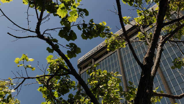 low angle view of marqeta inc. headquarters with tree branches in foreground in oakland, california, u.s., on wednesday, may 19, 2021. digital... - electronic banking stock videos & royalty-free footage