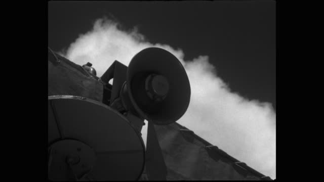 low angle view of megaphone on ship against sky - megaphone stock videos & royalty-free footage