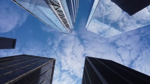 low angle view of modern office buildings - construction industry stock videos & royalty-free footage