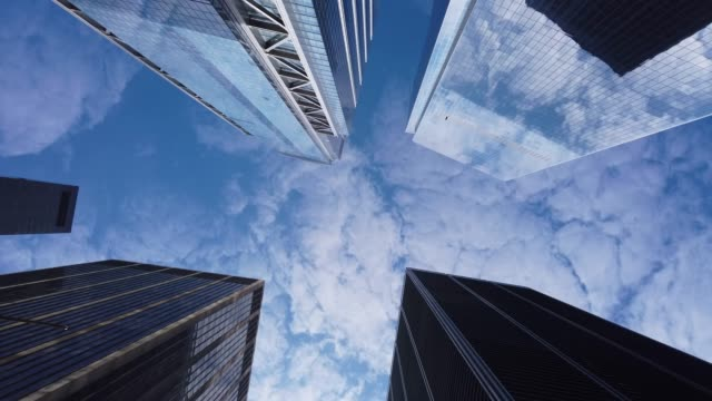 low angle view of modern office buildings - directly below stock videos & royalty-free footage