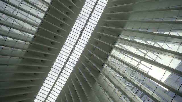 low angle view of skylight at famous the oculus shopping mall in city - new york city, new york - architecture stock videos & royalty-free footage