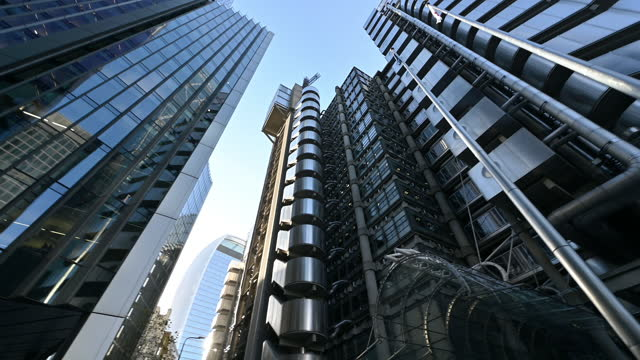 low angle view of skyscrapers in london financial district - local landmark stock videos & royalty-free footage