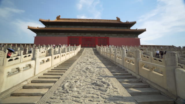 low angle view of slope with pattern by historic building in forbidden city - beijing, china - forbidden city stock videos & royalty-free footage