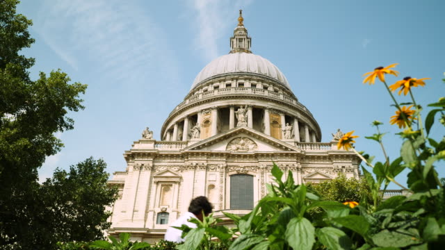 low angle view of st paul's cathedral on a sunny day with yellow flowers in foreground - anglican stock videos & royalty-free footage