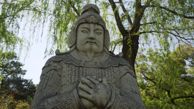 low angle view of stone chinese warrior statue against trees - beijing, china - ming tombs stock videos and b-roll footage