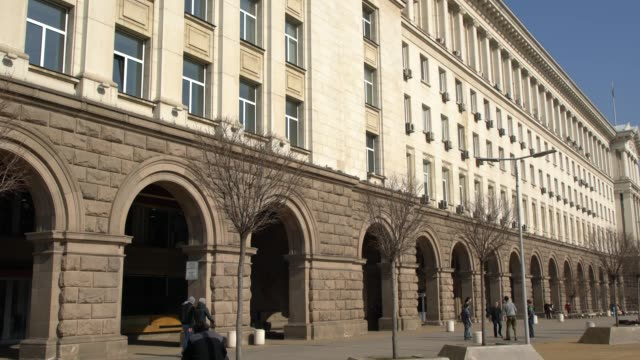 low angle view of the council of ministers building in sofia, bulgaria - kommunismus stock-videos und b-roll-filmmaterial