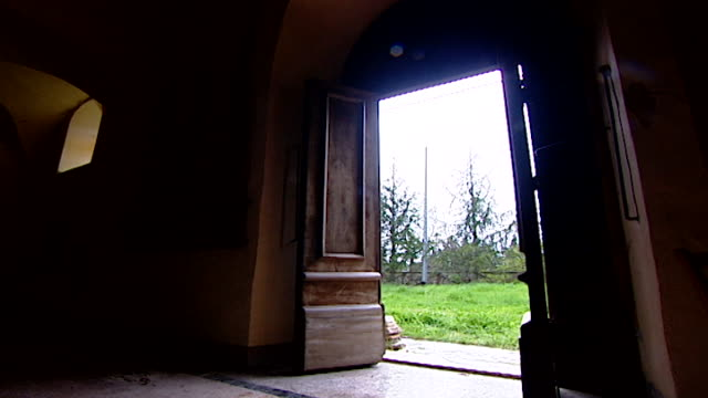low angle view of the entrance of the church of saint maron in volperino. during the crusades the relics of saint maron were sent to italy for safe... - the crusades stock videos & royalty-free footage