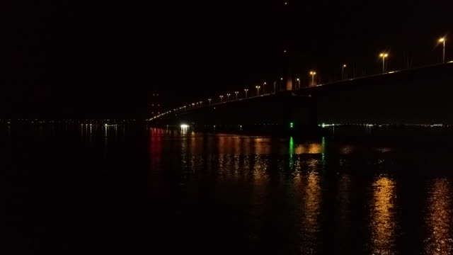 low angle view of the humber bridge at night - hull stock videos & royalty-free footage