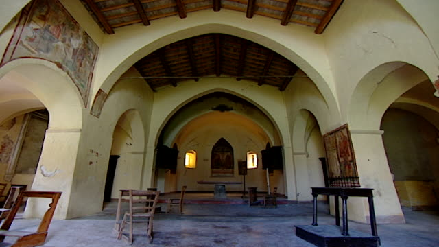 low angle view of the nave of the church of saint maron in volperino. during the crusades the relics of saint maron were sent to italy for safe... - the crusades stock videos & royalty-free footage