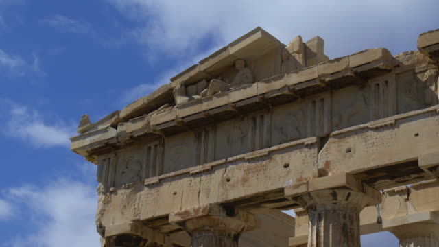 low angle view of the parthenon portico on the acropolis - parthenon athens stock videos and b-roll footage