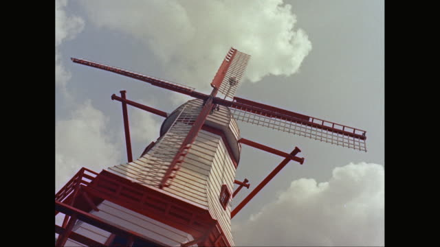 WS Low angle view of traditional windmill / United States