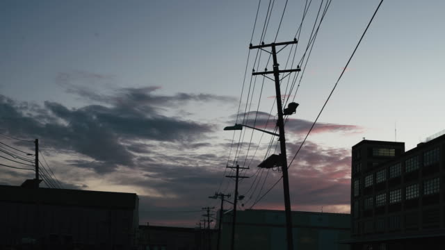 low angle view of utility poles in city at sunset - telephone pole stock videos & royalty-free footage