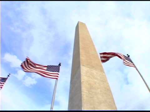 Low angle view of Washington Monument with American flags, Washington DC