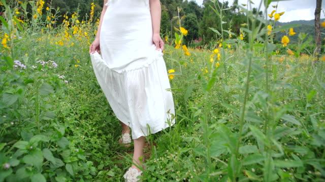 低角度ビュータイの美しい女性彼女は座ってアジサイの花に触れ、観光客彼女はアジサイフィールドに旅行しました。新鮮な空気と彼女は幸せです - 息抜き点の映像素材/bロール