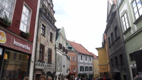 low angle view while walking along the market and shopping street in cesky krumlov town - czech republic stock videos & royalty-free footage