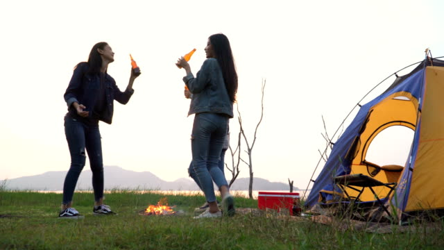 low angle view: young women drinking together with happiness in summer while having camping near lake at sunset - camp fire stock videos & royalty-free footage