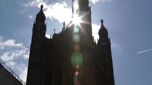 low angle views of the houses of parliament - clock tower stock videos & royalty-free footage