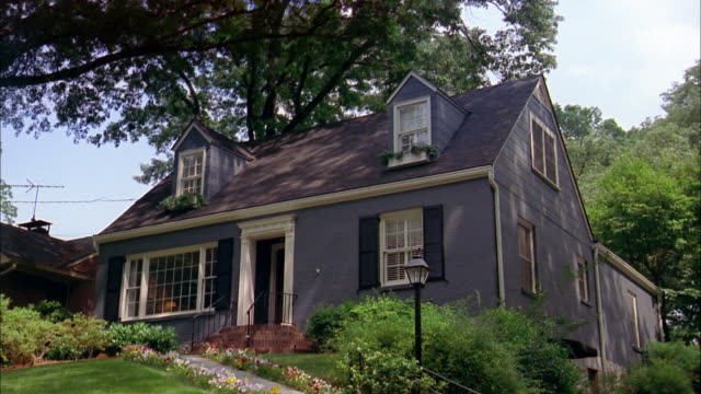 low angle wide shot exterior of house - cottage stock videos & royalty-free footage