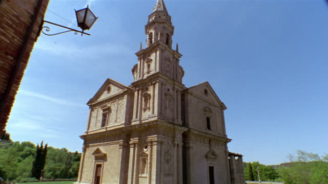 low angle wide shot exterior of the madonna di san biagio church in montepulciano / tuscany, italy - montepulciano stock videos & royalty-free footage