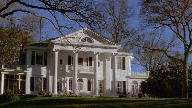 low angle wide shot facade of mansion / atlanta, georgia - establishing shot stock videos & royalty-free footage