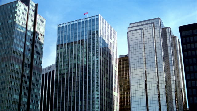 low angle wide shot modern steel and glass buildings in vancouver / british columbia, canada - kelly mason videos stock videos & royalty-free footage