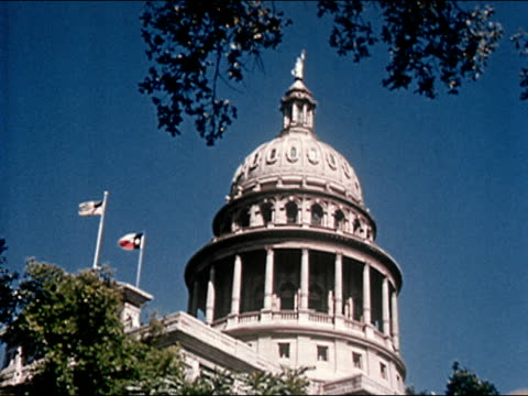 1963 low angle wide shot texas state capitol building/ audio - austin texas stock videos & royalty-free footage