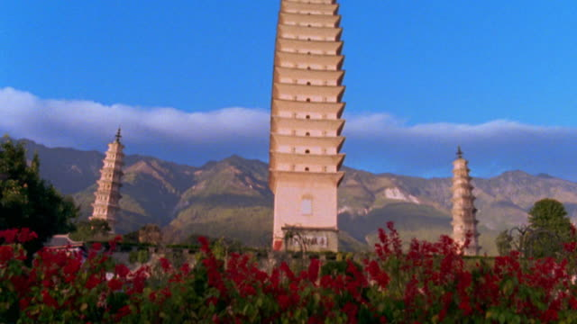 low angle wide shot tilt up from red flowers to three pagodas with mountains in background / dali, yunnan province, china - pagoda stock videos & royalty-free footage