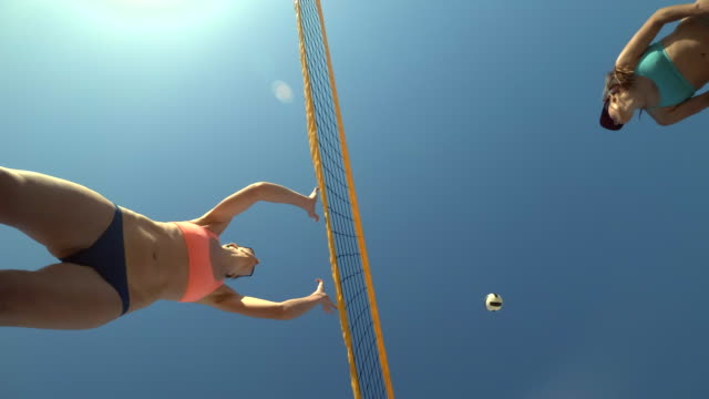 Low angle POV of women players playing beach volleyball from below. - Slow Motion