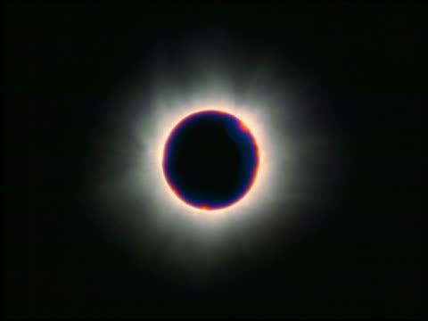 low angle zoom out eclipse at totality + slightly past totality with clouds in background at end of zoom out / Austria 1999