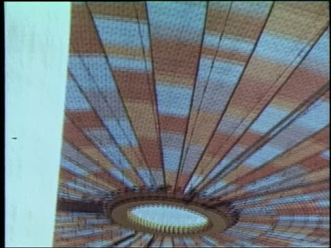 1964 low angle zoom out stained glass ceiling of pavilion at ny world's fair - esposizione universale di new york video stock e b–roll