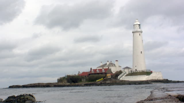 Low anglefull length view of Saint Mary's lighthouse.