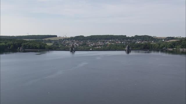 low approach to mohne dam - north rhine westphalia stock videos & royalty-free footage