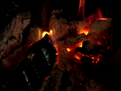 Low burning log fire