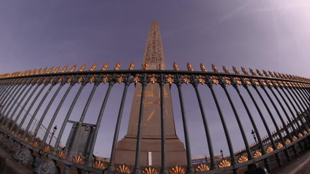 Low camera angle of Egyptian Obelisk of Luxor in Place de la Concorde, Paris, France