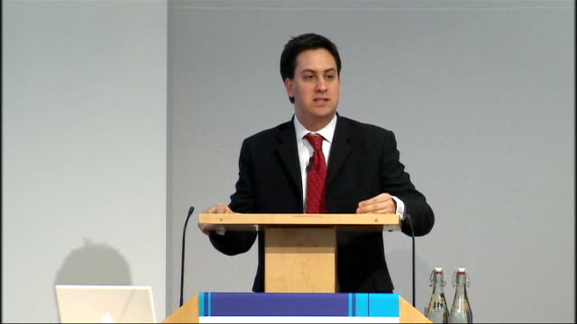 low carbon economy summit ed miliband mp speech sot anecdote from recent visit to us scale of change / can't negotiate with science / transformation... - trinity test stock videos & royalty-free footage