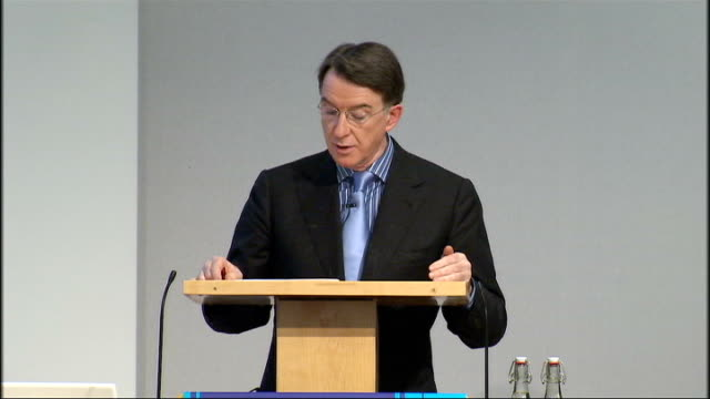 low carbon economy summit lord mandelson speech sot backdrop for what we are doing today is the global recession temptation to see the shift to low... - double chance stock videos & royalty-free footage