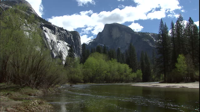 low clouds cover bridalveil falls and cathedral rocks in yosemite national park, california. - bridal veil falls yosemite stock videos & royalty-free footage