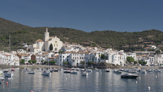 low drone shot of the harbour of cadaqués - spain stock videos & royalty-free footage